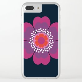 Stellar - minimal 70s style abstract floral flower art retro throwback 1970's vintage vibes Clear iPhone Case