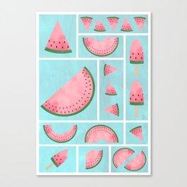 Watermelon Grids Canvas Print