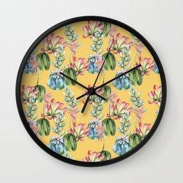 Watercolor Cactus Design on Yellow Wall Clock