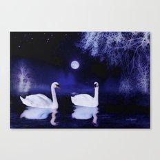 Swan lake at midnight Canvas Print