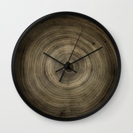 Detailed smoky dark brown cut wood tree with growth rings pattern Wall Clock