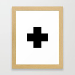 Black Swiss Cross Framed Art Print