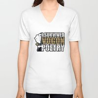 poetry V-neck T-shirts featuring Vogon Poetry by Ryan McCondach