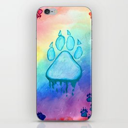 Painted Paw Prints on the Heart iPhone Skin