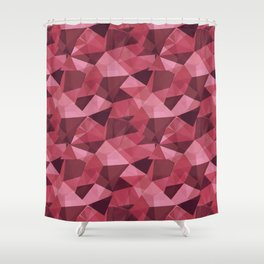 Abstract Polygon Bold Red Cubism Low Poly Triangle Design 4 Shower Curtain