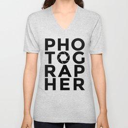 PHOTOGRAPHER - photography aperture camera Unisex V-Neck