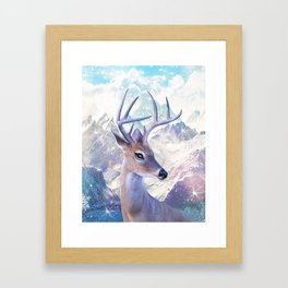 Fairy deer in the mountains Framed Art Print