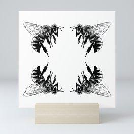 A Quartet of Honey Bees Mini Art Print