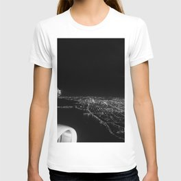 Chicago Skyline. Airplane. View From Plane. Chicago Nighttime. City Skyline. Jodilynpaintings T-shirt
