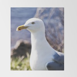 A Portrait of a Gull Throw Blanket