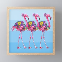 A Small Flock of Flamingos Framed Mini Art Print
