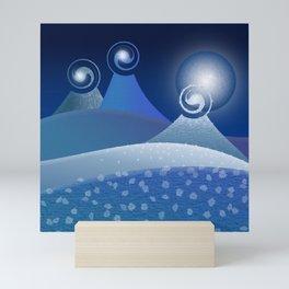 Moonlit Fantasy Mountains in blue Mini Art Print