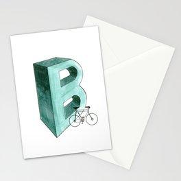Letter B monogram watercolor illustration Stationery Cards