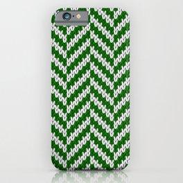 Realistic knitted herringbone pattern green iPhone Case