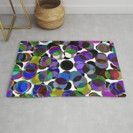 Cluttered Circles III - Abstract, Geometric, Pastel Coloured, Circle Patterned Artwork Rug