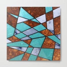 #477 Marble Shards & Copper Metal Print