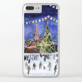 Red square. Winter Moscow Clear iPhone Case