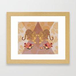 Two Leopards on Gold Geo Pink Floral Jungle Framed Art Print