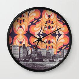 Colorful Sky Above New York Wall Clock