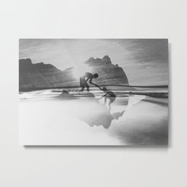 Friendship Mountain Black and White Surreal Nature Metal Print