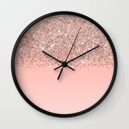 Girly Rose Gold Confetti Pink Gradient Ombre Wall Clock