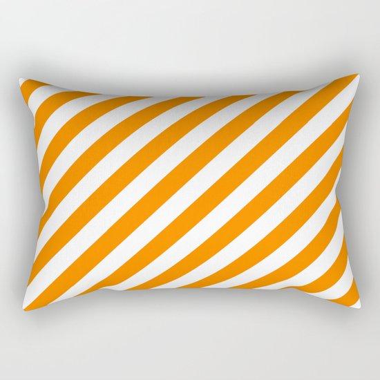 Diagonal Stripes (Orange/White) Rectangular Pillow