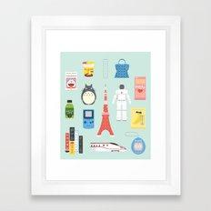 Japan Icons Illustration : PRESENT Framed Art Print