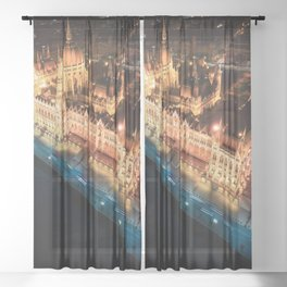Budapest's Parliament Building, Hungary Sheer Curtain