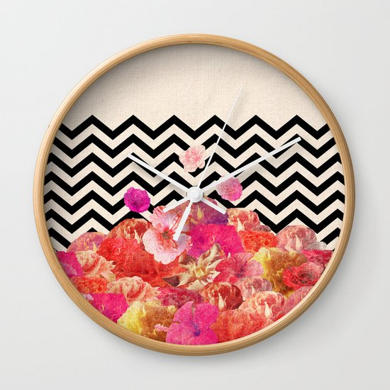 Chevron Flora II Wall Clock