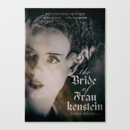 The Bride of Frankenstein, vintage movie poster, Boris Karloff cult horror Canvas Print