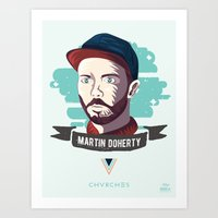 chvrches Art Prints featuring Martin Doherty  - CHVRCHES by Derek Brown