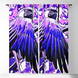 blue yellow breasted macaw parrot bird vector art blue purple Blackout Curtain