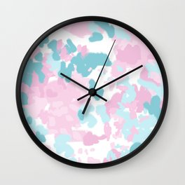 Cruz - abstract painting pastel pink and blue minimal modern decor for office home Wall Clock
