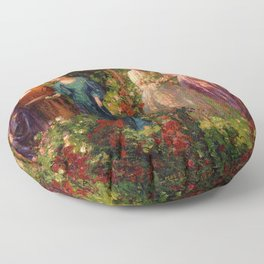 Rose Garden Tapestry Gather Ye Rosebuds While Ye May by Thomas Edwin Mostyn Floor Pillow