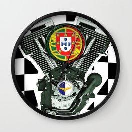 Portuguese Checker Board. Wall Clock