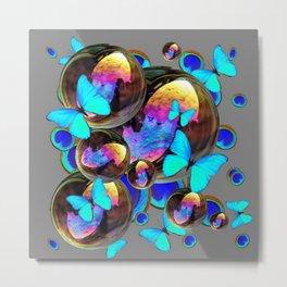 BLUE & GOLD  BUBBLES BLUE BUTTERFLIES PEACOCK EYES Metal Print