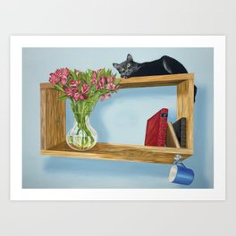 Muse on an Intriguing Shelf Art Print