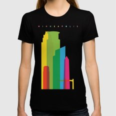 Shapes of Minneapolis Black Womens Fitted Tee MEDIUM