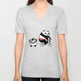 Cacti delivery. Panda on bicycle. Unisex V-Neck