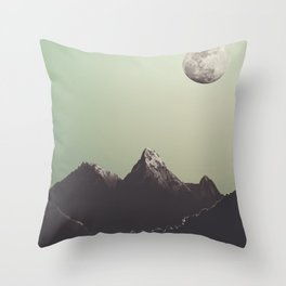 Moon & mountain Throw Pillow