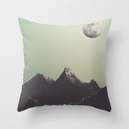 Moon & mountain Throw Pillow