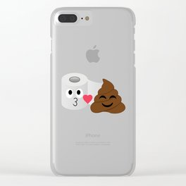 Poop and toilet tissue couple in a romantic mood Clear iPhone Case