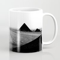 egypt Mugs featuring Egypt, Pyramids by DLS Design