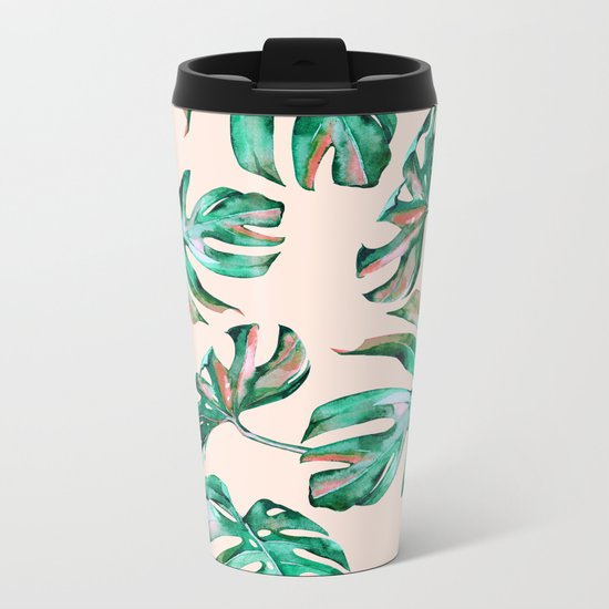 Tropical Palm Leaves Coral Greenery Metal Travel Mug
