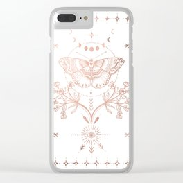 Magical Moth In Rose Gold Clear iPhone Case