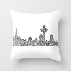 Liverpool City Skyline Throw Pillow