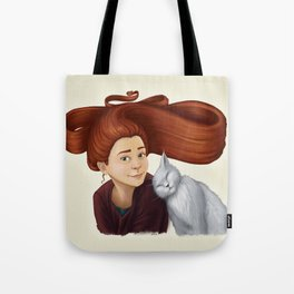 2014-08 Girl with her cat Tote Bag
