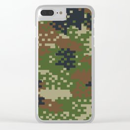 Pixel Woodland Camo Camouflage Pattern Clear iPhone Case