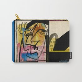 """Funky Face Abstract, """"I See 32"""" by Kathy morton Stanion Carry-All Pouch"""