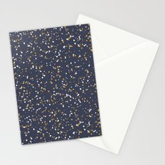 Speckles I: Dark Gold & Snow on Blue Vortex Stationery Cards